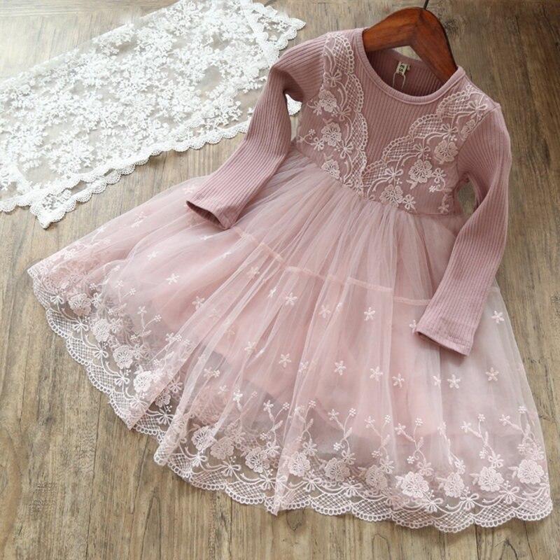 Платья с длинными рукавами для маленьких детей; платье с цветочным рисунком для девочек; вечерние платья-пачки принцессы на свадьбу; одежда для детей; кружевные платья для девочек - Цвет: 3