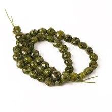 Grânulos naturais pedra natural granito verde facetado plana contas redondas 8mm para fazer jóias diy pulseira acessórios