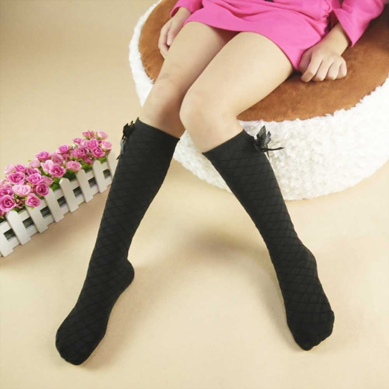 3-12 Year Baby Kid Socks Children Cute Princess Solid Color Cotton Bow Tie Patchwork Girls Knee High Long Socks Girls Knee Socks