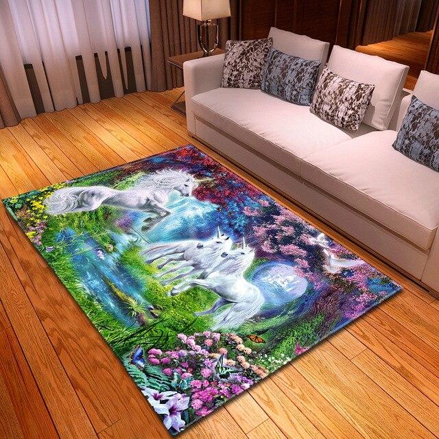 Licorne motif tapis enfants chambre décor tapis pour salon chambre petits tapis enfants 3D imprimé tapis maison table basse tapis