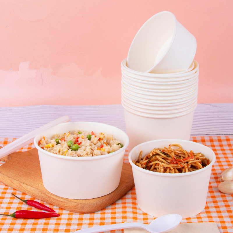 50pcs/pack Large Capacity White Paper Bowl Fast Food Storage Disposable Food Package Plastic Lid