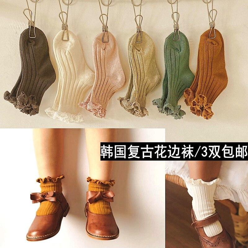 Носки для новорожденных однотонные носки до щиколотки с оборками хлопковые носки для младенца, милые летние носки средней длины для детей, ...
