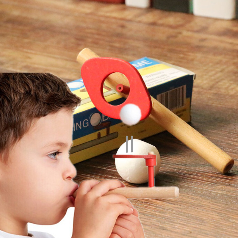 Early Education System Equipment Wooden Suspension Magic Projects Children's Blow Ball Play Oral Trainer