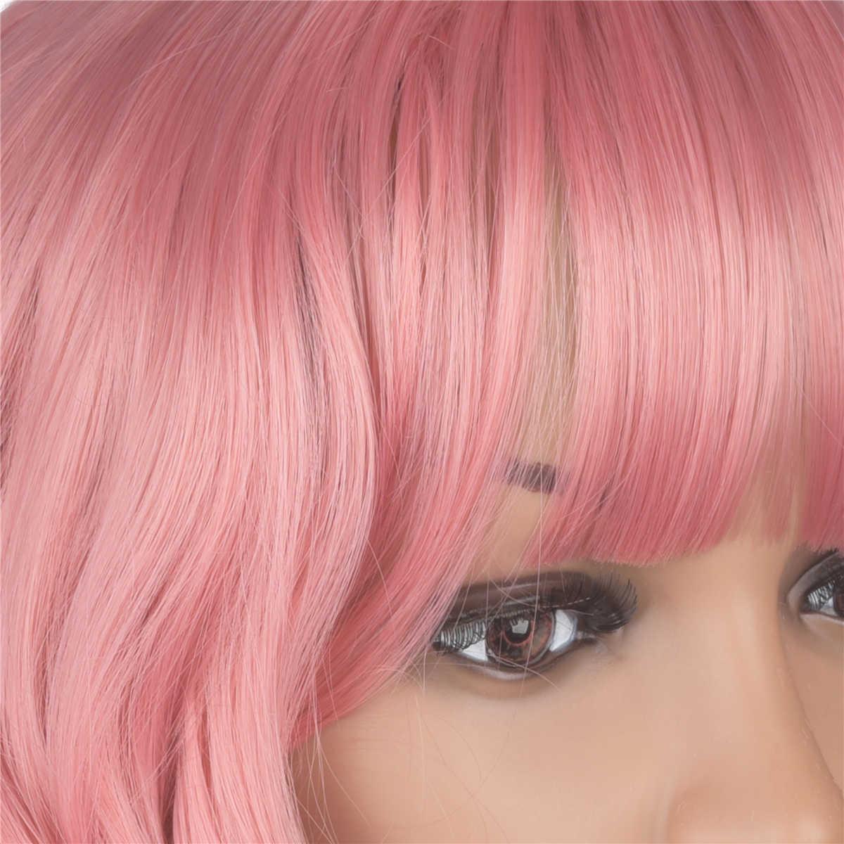 Yunrong Rose Roze Kleur Synthetische Pruik Met Pony Restyleable Hoge Temperatuur Fiber Lijmloze Synthetisch Haar Losse Golf Cosplay