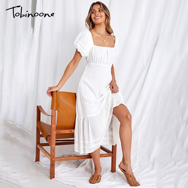 Tobinoone Chiffon Short Puff Sleeve Weiß 2021 Sommer Kleid Frauen Aushöhlen Backless Sexy Kleider Damen Elegante Strand Kleid