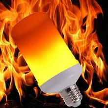 Nowy LED dynamiczny efekt płomienia lampka imitująca ogień żarówka E27 B22 E14 LED żarówka kukurydza kreatywny migotanie emulacja 5W 12W lampka LED tanie tanio FDIK Ciepły biały (2700-3500 k) 2835 Salon 85-265V 500-999 Lumenów Globe 50000 134mm Żarówki led Bubble ball żarówki
