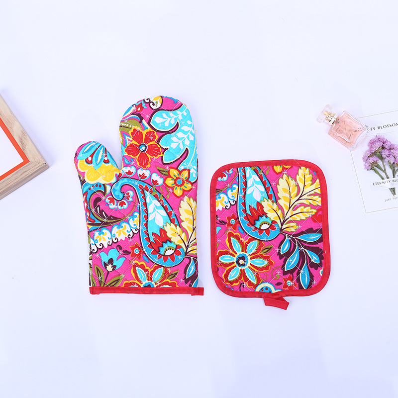2018 New Style Fashion Star Shaped Lattice New Flower Two-Piece Set Household Products Bakery Gloves Heat Resistant High-tempera