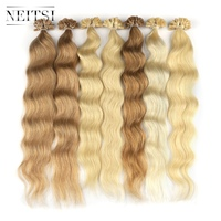 Neitsi Machine Made Remy Human Fusion Hair U Nail Tip Natural Wave Pred Bond Keratin Human Hair Extension 20 1g/s 18 Colors