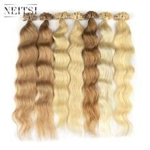 """""""Neitsi Machine Remy Human Fusion Hair U Nail Tip Natural Wave Pred Bond Keratin Natural Real Hair Extensions 20"""""""" 1g/s 18 Colors"""""""
