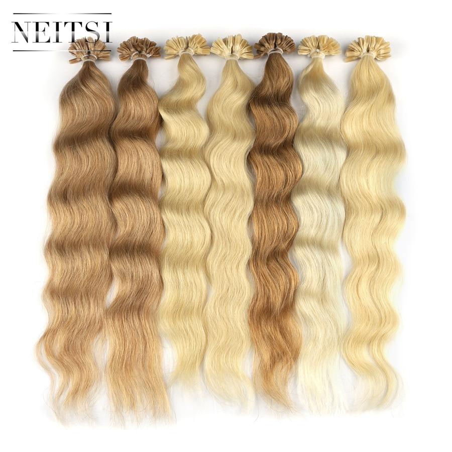 Neitsi, машина, сделанная, Remy, человеческие накладные волосы, u образные накладные волосы, натуральная волна, Pred Bond, кератиновые человеческие волосы для наращивания, 20 дюймов, 1 г/локон, 18 цветов