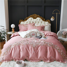 Luxury Pink White Red 100S Egyptian Cotton Flowers Embroidery European Palace Bedding Set Duvet Cover Bed