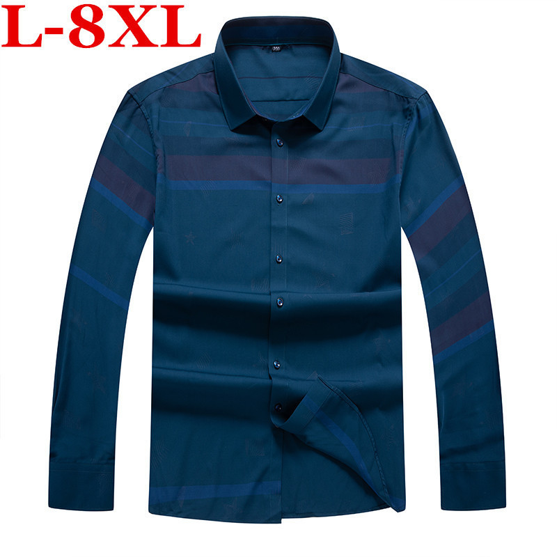 Plus Size  8XL  7XL  6XL  Mens Business Casual Long Sleeved Shirt Men Shirt Classic Striped Male Social Dress Shirts Outwear
