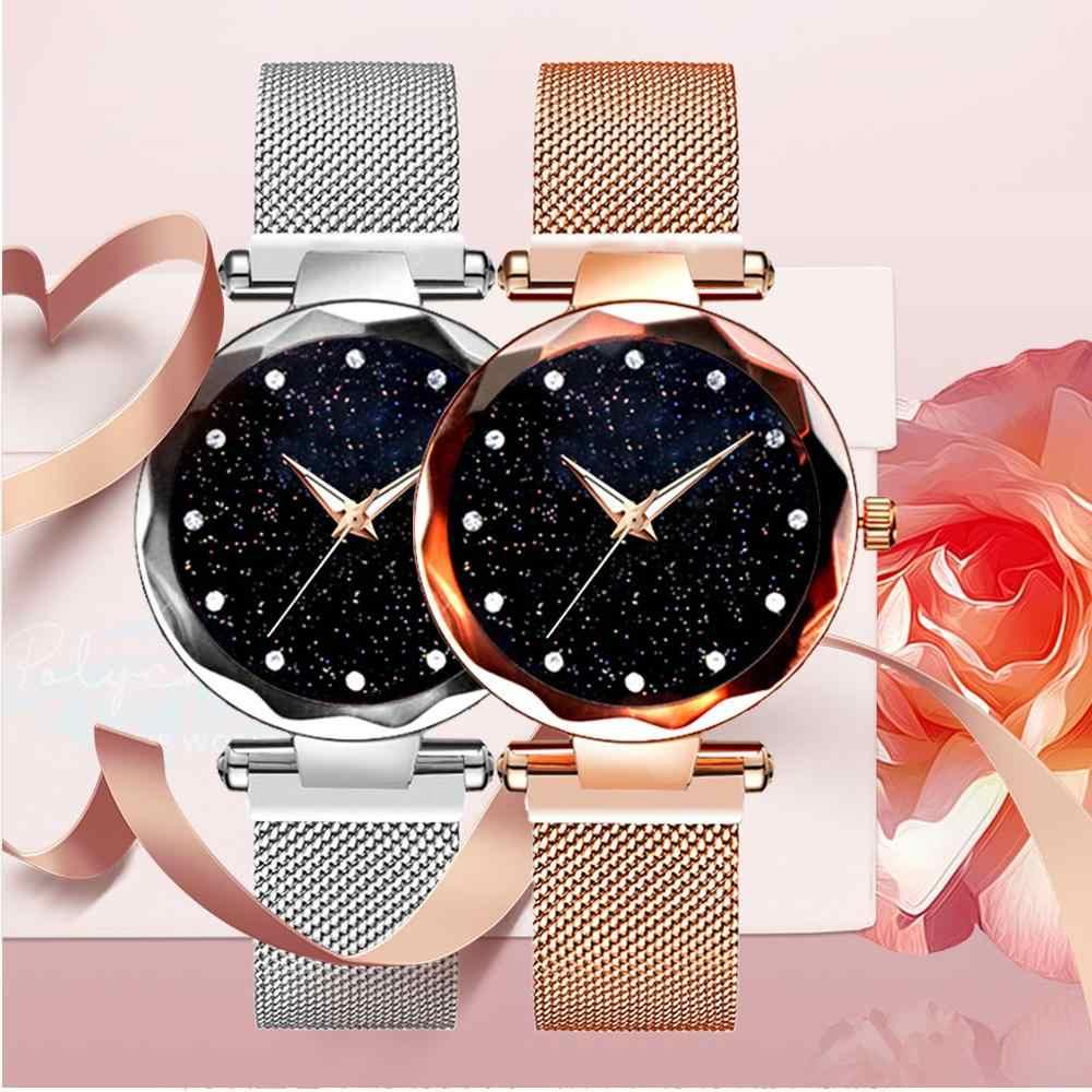 高級駅-rry がスカイ時計磁気バンド女性クォーツ腕時計ダイヤモンド腕時計女の子ブレスレット絶妙な女性の腕時計 Relojes