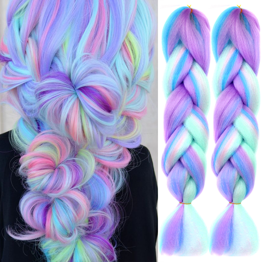 AIYEE плетение волос розового и фиолетового цветов Голубой Белый Цвет эффектом деграде (переход от темного к большие синтетические косы наращ...