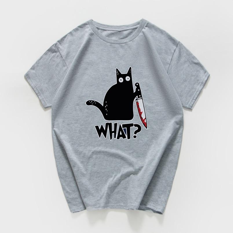 Cat What  funny T-Shirt men Vintage Graphic Cat With Knife Unisex tshirt men Novelty streetwear t shirt men homme men clothes 2