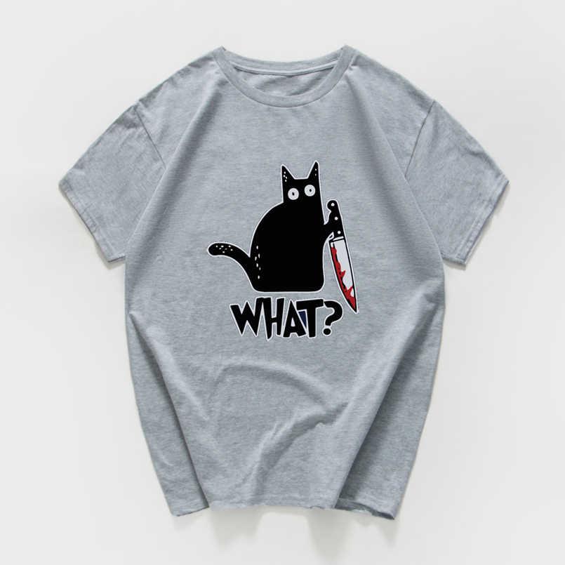 猫何おかしい Tシャツ男性ヴィンテージグラフィック猫ナイフユニセックス tシャツメンズノベルティストリート tシャツオム男性服