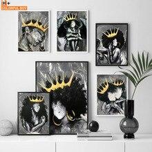 África Angel Queen negro chica niño carteles nórdicos e impresiones arte de pared lienzo pintura impresión cuadros de pared para Living Room Club