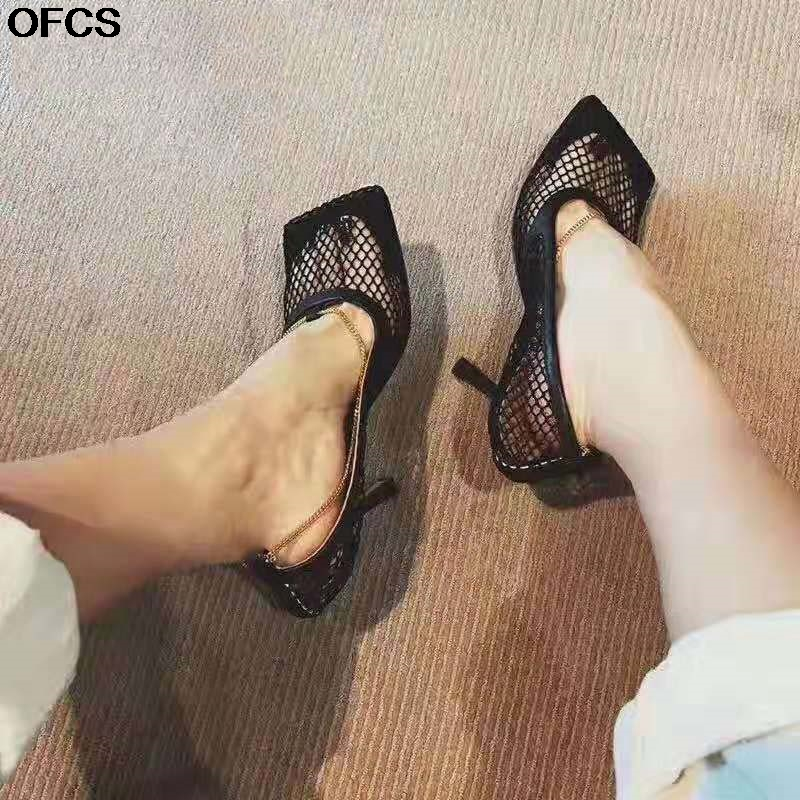 Sexy Mesh Women Sandals  Square Toe High Heel Women Pumps Chain Stiletto Hollow Party Dress Pumps Shoes 7CM 9CM  Spring Summer
