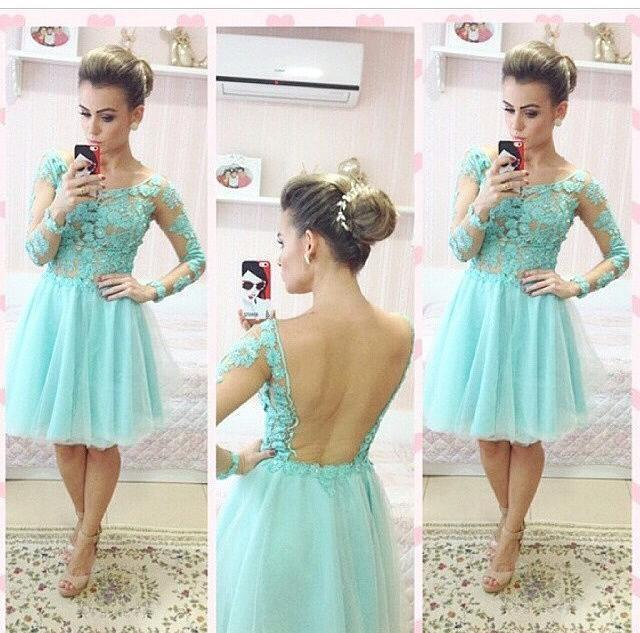 2015 Sexy Backless Short Long Sleeve Prom Light Green Lace Appliqued Top Party Gown Vestido De Noiva Bridesmaid Dresses