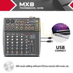 Xtuga MX8 profesjonalny sprzęt Audio mikser dźwięku konsoli DJ maszyna do 8 kanałów podwójne 3 graficzny EQ USB bezpośrednio podłączonego komputera