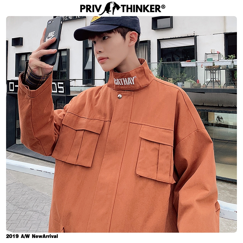 Privathinker Men Woman Stand Collar Hip Hop Pockets Jacket Mens Autumn Korean Coat Streetwear Male 2019 Fashion Casual Jackets