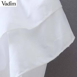 Image 5 - Vadim kadınlar chic papyon yaka beyaz bluz ruffles uzun kollu ofis giyim kadın gömlek zarif katı üst blusas LB379