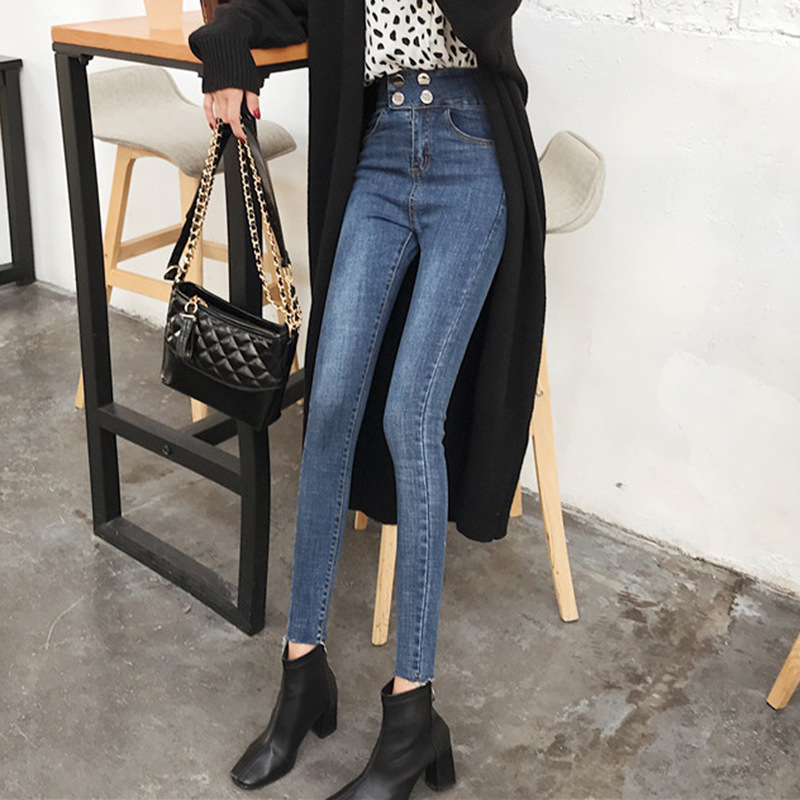 Retro Tight Cowboy Skinny Pants Autumn Clothing Women's 2019 New Style Hong Kong Flavor Slim Fit Pencil Pants High-waisted Show