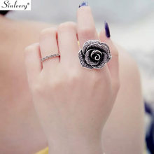 SINLEERY Retro Big Black Crystal Rose Flower Rings For Women Vintage Antique Silver Color Wedding Jewelry New Design Jz172 SSK(China)