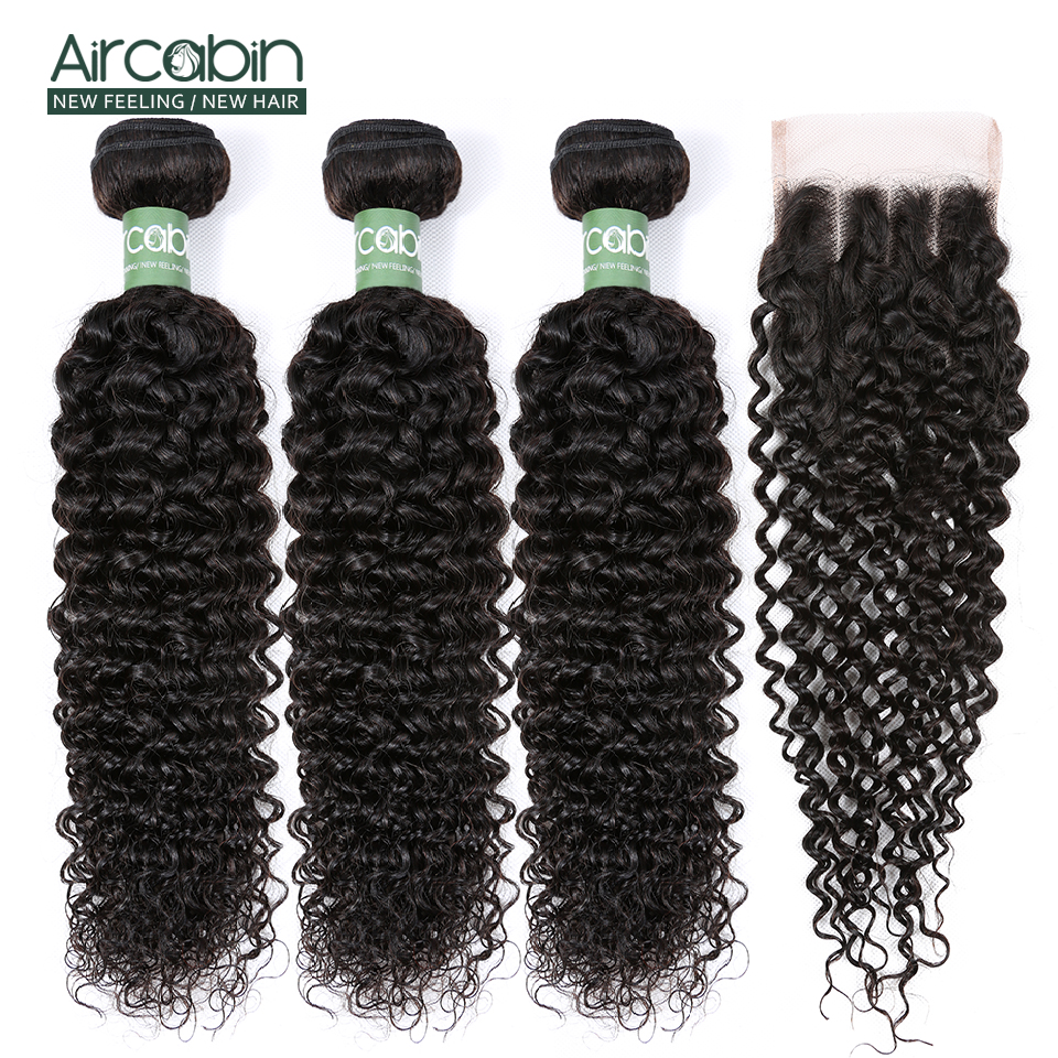 Aircabin Kinky Curly Bundles With 4x4 Closure Brazilian Hair Weave Bundles Remy Human Hair Bundles And Closure Hair Extensions