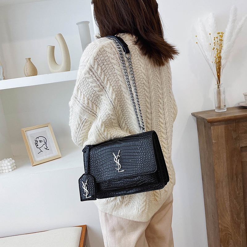 Bag Female 2020 New Fashion Chain Small Square Bag Simple Crocodile Pattern Shoulder Diagonal Bag