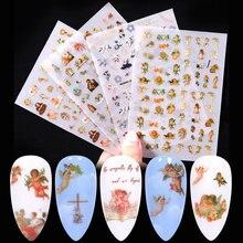 1 pçs 3d anjo padrão etiqueta do prego anjo flor design transferência decalque decoração da arte do prego na primavera e no verão envoltório slider