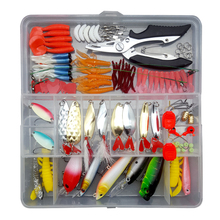 122/142/164 High Quality Bait Set Fishing Mixed Hard Frog Spoon Hook Hookworm Worm Soft With Box Tackle Accessories Sea
