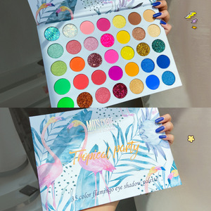 35 Colors Tropical Party Colorful Mixed Neon Eyeshadow Palette Matte Sequin Glitter Eye Shadow Palette Waterproof Eyeshadow