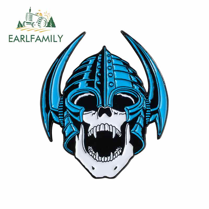 EARLFAMILY 13cm x 11.3cm For Powell Peralta Nordic Skull Car Stickers And Decals Occlusion Scratch Personality Creative Stickers