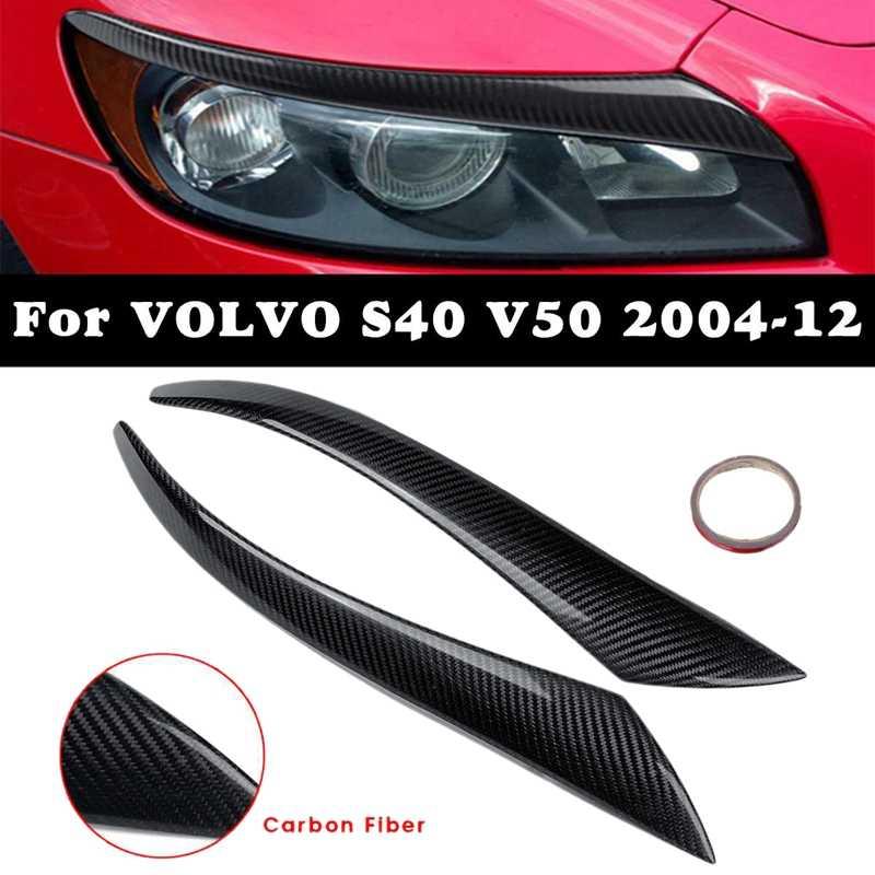 Fibre de carbone voiture phare sourcil couverture garniture lampe frontale sourcils décoration pour Volvo S40 V50 2004-2012