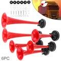 12В 178дб супер громкий красный шеститрубный электронный управляемый автомобильный воздушный рожок с компрессором для автомобиля грузовика ...