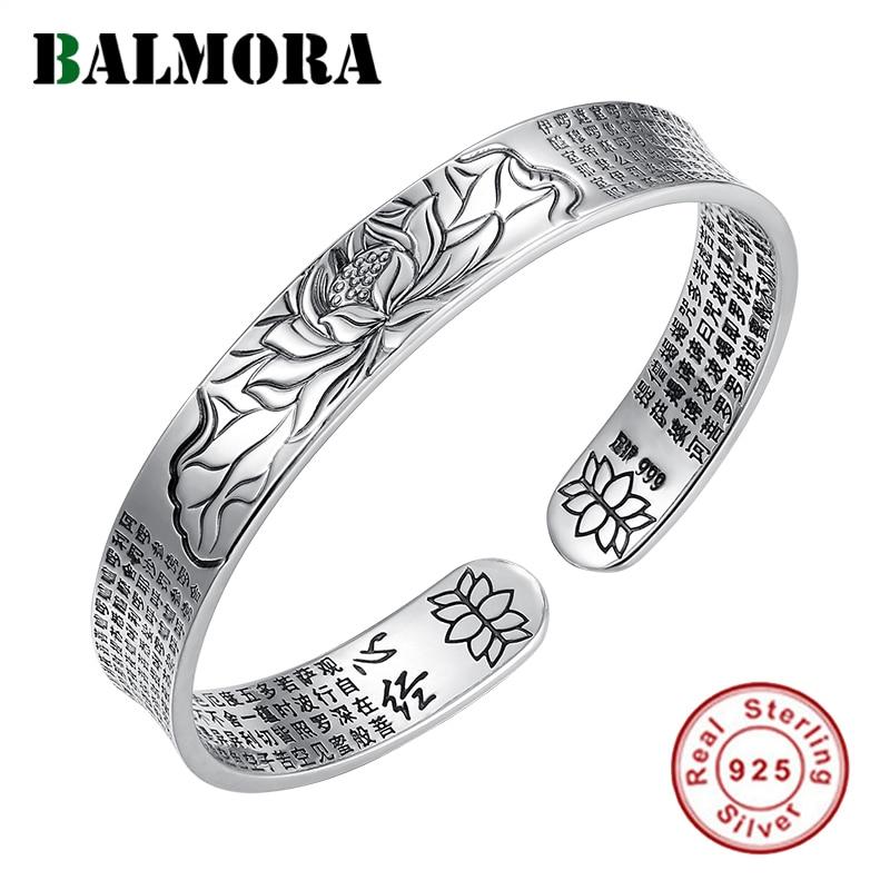 BALMORA Echt 999 Pure Silver Boeddhisme Sutra & Lotus Vintage Armbanden voor Vrouwen Mannen Paar Speciale Geschenken Cool Punk Mode sieraden-in Armring van Sieraden & accessoires op  Groep 1