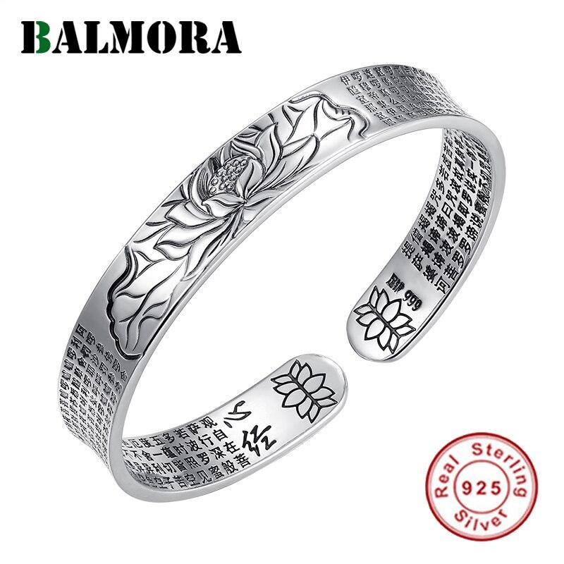 BALMORA Echt 999 Reinem Silber Buddhismus Sutra & Lotus Vintage Armreifen für Frauen Männer Paar Spezielle Geschenke Coole Punk Mode schmuck-in Armreifen aus Schmuck und Accessoires bei  Gruppe 1
