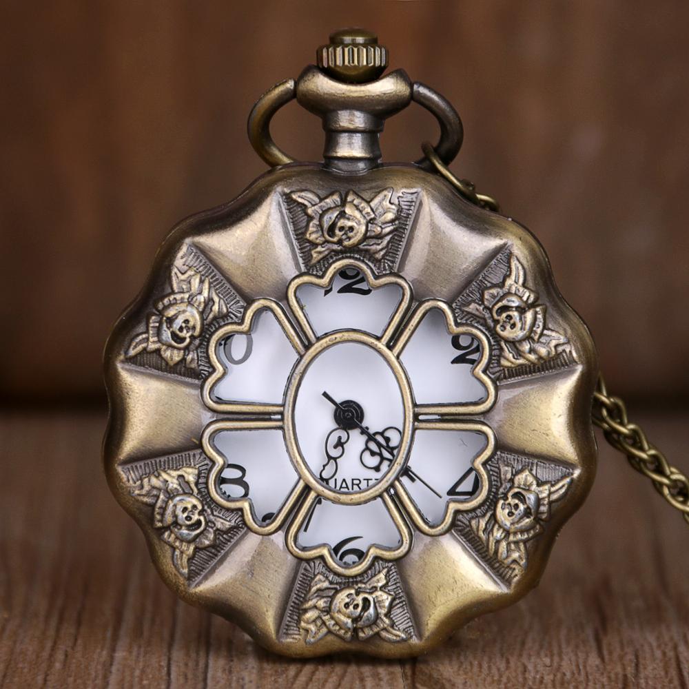 Steampunk  Bronze Hollow Flower Fob Chains Skeleton Engraved Quartz Pocket Watches Clock Men Women Gifts Pendant TD2142