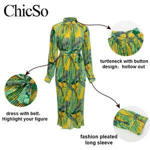 Image 5 - MissyChilli Pleated floral chiffon long sleeve dress Women elegant green bohu dress festa Female spring summer party beach dress
