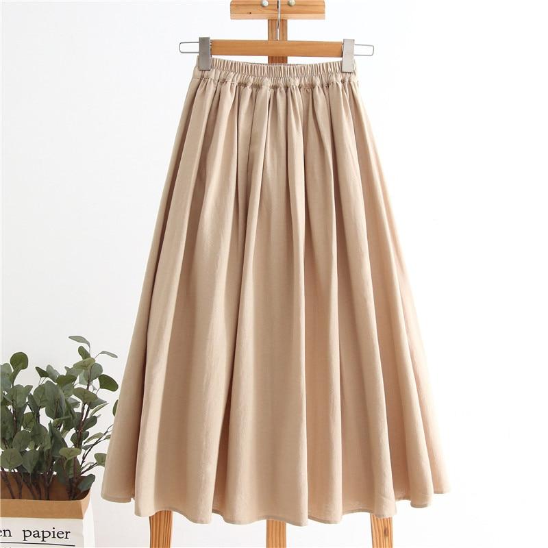2020 Women A-Line Skirt Vintage Cotton And Linen Two Layer Long Skirt High Waist Women Summer Skirts Saia Faldas Jupe Femme