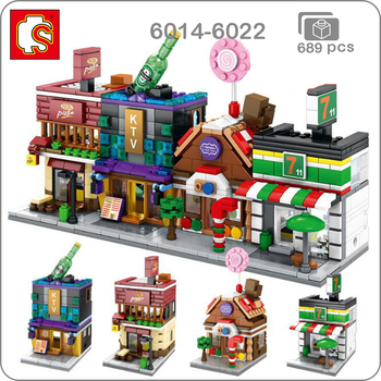 Sembo City Street Pizza Hut Candy KTV Convenience Store 3D Model DIY Small Blocks Bricks Building Toy 4Pcs for Children no Box