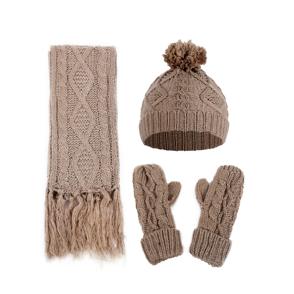 Women Autumn Winter Hat Rhombus Cable Knit Yarn Hat Wild Scarf Solid Gloves 3pcs Set Keep Warm Fashionable Joker