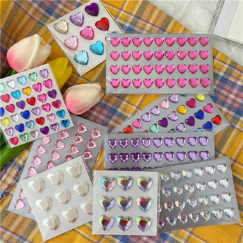 Lovely Heart Shaped Diamond Sticker Laser Colorful Crystal Girl Makeup Mobile Phone Diy Creative Decorative stationery