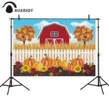 Allenjoy photophone background Autumn pumpkin tree flower fence crop red barn children photography backdrop photobooth photocall