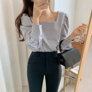 HziriP Gentle 2020 Square Collar All-Match Lantern Sleeves Casual High Quality Loose Office Lady Stylish Brief Women Shirts