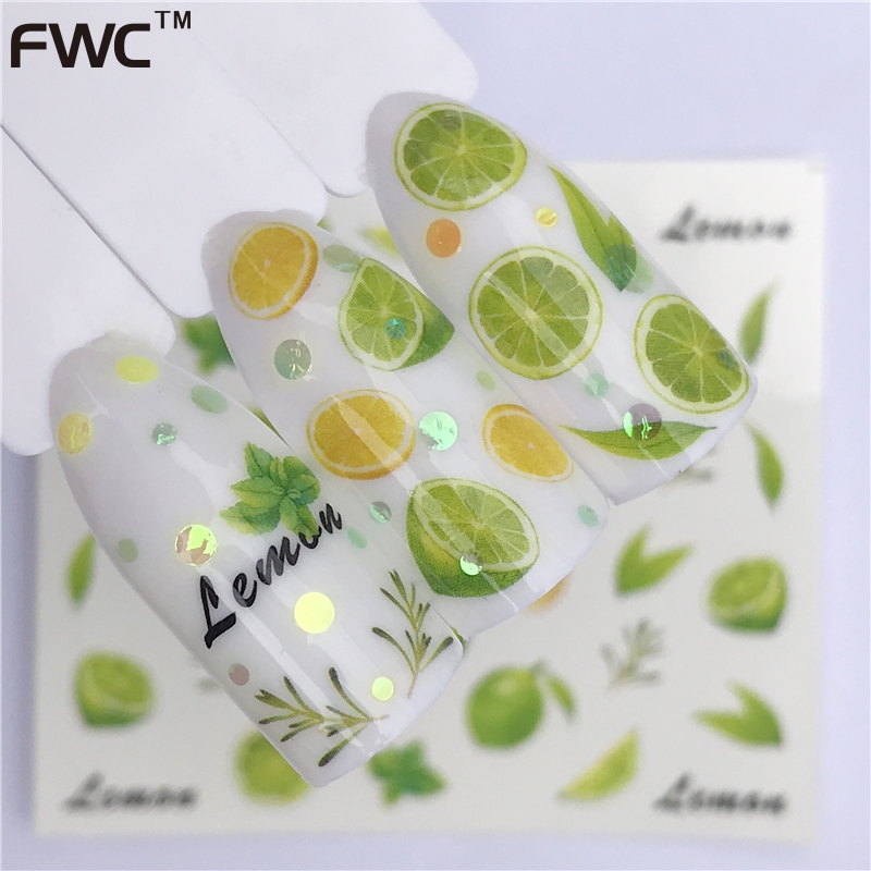 WUF 1 Sheet Fruit Design Nail Art Sticker Water Transfer Decals Summer Watermelon Tattoos Slider Color Tips Decoration