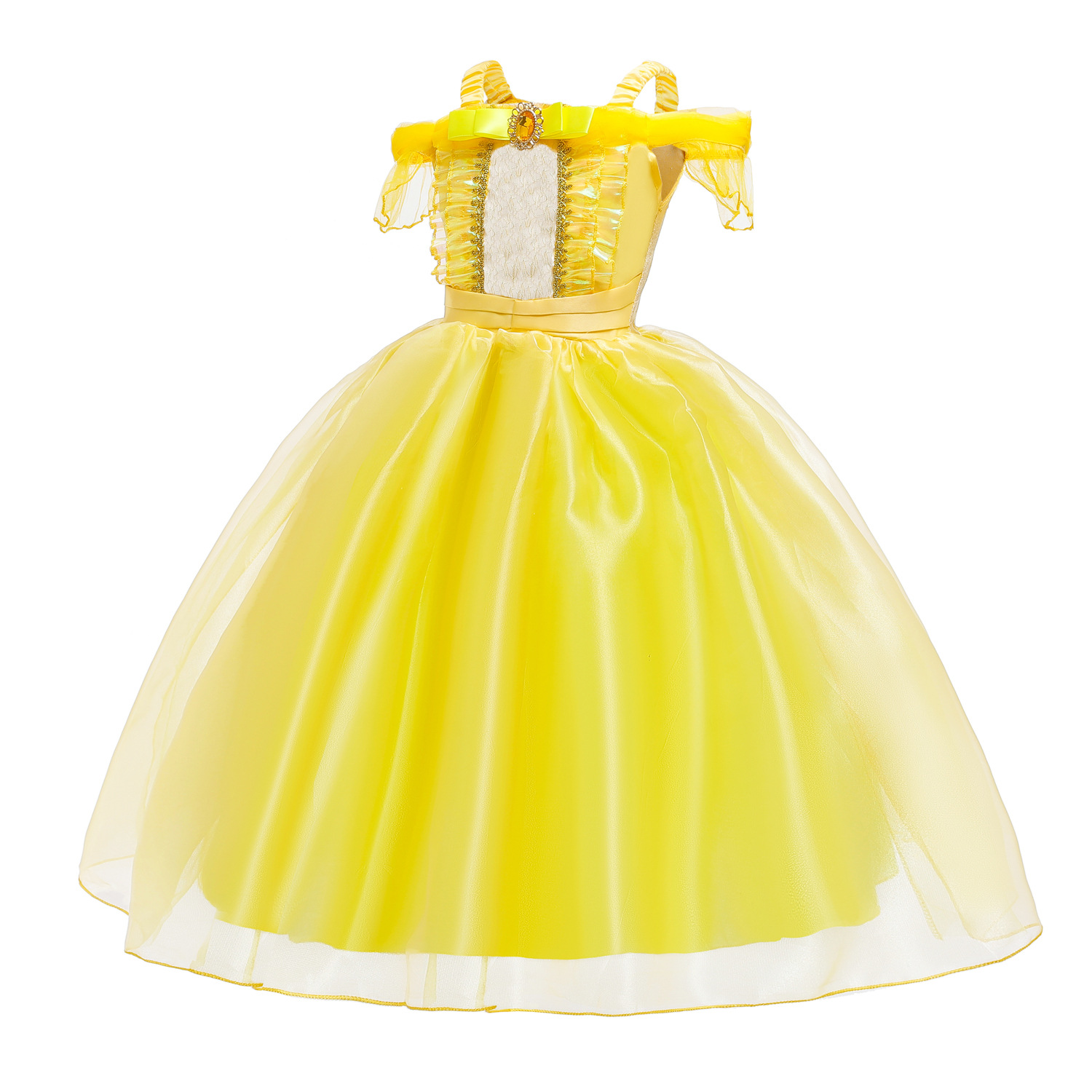Image 3 - Cosplay Princess Belle Girl Dress For Halloween Party Drama Prom Christmas Costume Kids Clothes Beauty and The BeastGirls Costumes   -