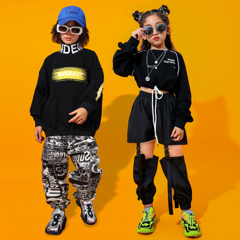 Black Jazz Dance Costumes Kids Hiphop Rave Outfit Child Street Dance Practice Dancing Wear Stage Performance Clothing DC3208