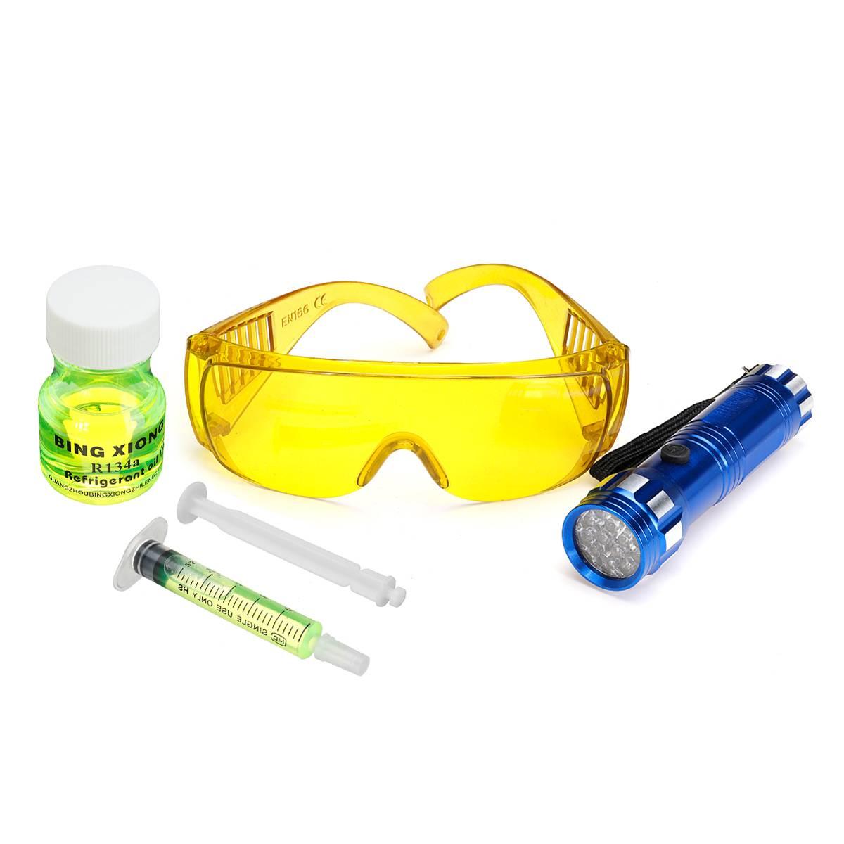 Car Air Conditioning A/C System Leak Test Detector Leakage Detecting Tool Kit 28 LED UV Flashlight UV Dye Fluorescent Glasses